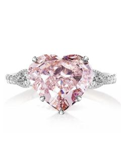 Three Stone Heart Cut Engagement Ring