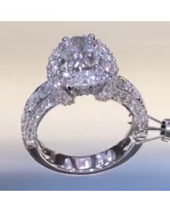 Vintage Scarf Design Halo Cushion Cut Engagement Ring