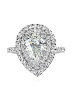 Double Halo Pear Cut Engagement Ring