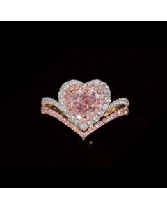 Two Tone Halo Heart Cut Bridal Set