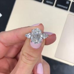 Three Stone Oval Cut Engagement Ring