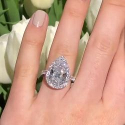 Halo Pear Cut Engagement Ring