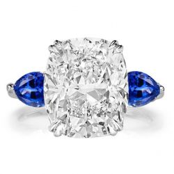 Three Stone Double Prong Cushion Cut Engagement Ring