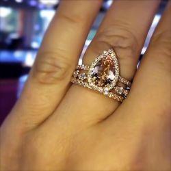 Halo Pear Cut 3PC Bridal Set