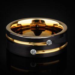 White Stone Concave-convex Design Tungsten Gold Men's Ring