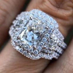 4.3 Ct Radiant Cut 3PC Wedding Ring Set