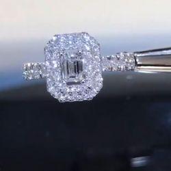 Emerald Cut White Halo Engagement Ring