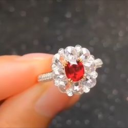 Floral Design Two Tone Double Halo Radiant Cut Engagement Ring