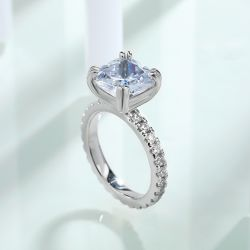 Double Prong Cushion Cut Engagement Ring