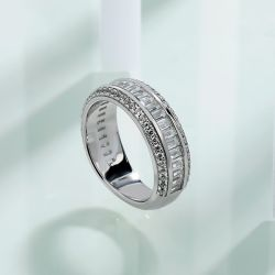 3.86 CT Sterling Silver Women's Eternity Band